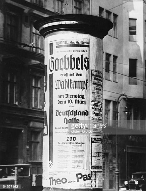 `Neuwahl' des Reichstages nach dermilitärischen Besetzung des RheinlandesLitfasssäule in einer Berliner Strassemit der Ankündigung der Eröffnung...