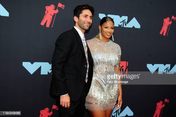 Nev Schulman and Kamie Crawford attend the 2019 MTV Video Music Awards at Prudential Center on August 26, 2019 in Newark, New Jersey