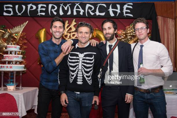 Nev Schulman Casey Neistat Rel Schulman and Henry Joost attend Supermarche Celebrates 10 years of Hustle and Films on April 6 2017 in New York City