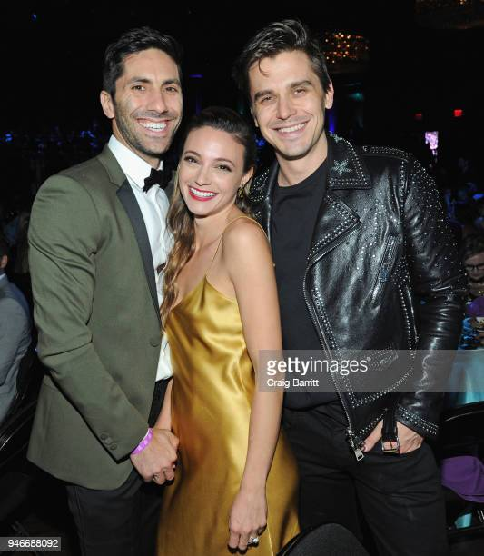 Nev Schulman Laura Perlongo and Antoni Porowski attend the 10th Annual Shorty Awards at PlayStation Theater on April 15 2018 in New York City