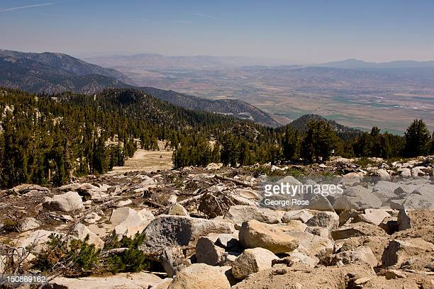 Nevada and Carson City are seen in the distance from the top of Heavenly Ski Resort on August 8 in South Lake Tahoe California Lake Tahoe straddling...