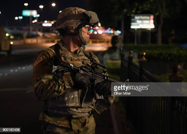 Nevada Army National Guard Spc Victor Ferguson stands on Tropicana Avenue near the Las Vegas Strip outside the New YorkNew York Hotel Casino on...