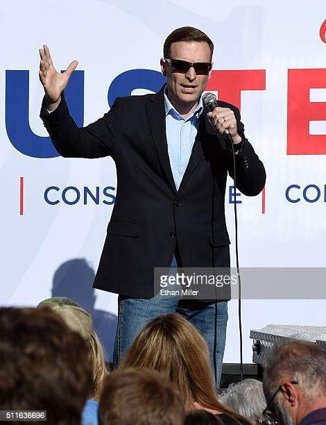 Nevada Attorney General Adam Laxalt introduces Republican presidential candidate Sen Ted Cruz at a rally on February 21 2016 in Pahrump Nevada Cruz...