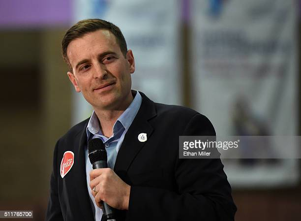 Nevada Attorney General Adam Laxalt introduces Republican presidential candidate Sen Ted Cruz at a rally at the Durango Hills Community Center on...