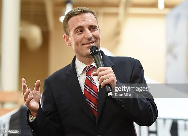 Nevada Attorney General Adam Laxalt introduces US presidential candidate and Wisconsin Gov Scott Walker at Red Rock HarleyDavidson on July 14 2015 in...