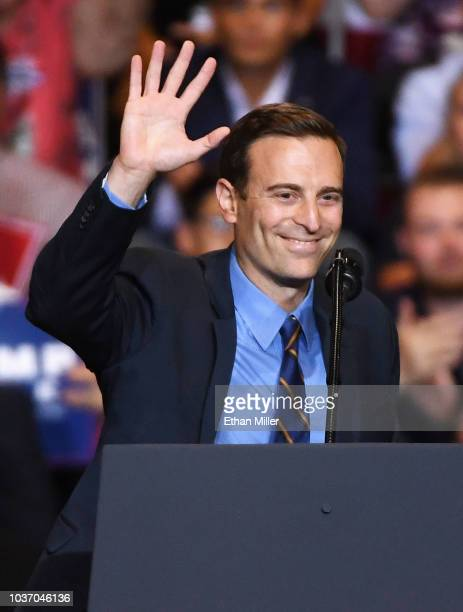 Nevada Attorney General and Republican gubernatorial candidate Adam Laxalt waves after speaking during a Donald Trump campaign rally at the Las Vegas...