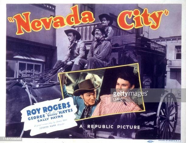 Nevada City lobbycard center color from left Roy Rogers Sally Payne background from left Roy Rogers Gabby Hayes Billy Lee 1941