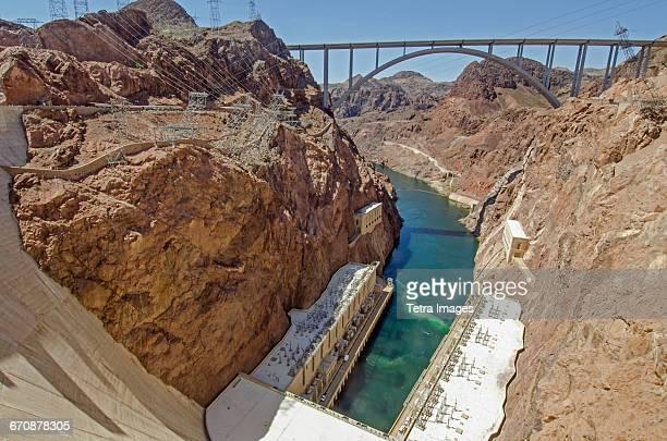 Nevada, Clark County, Hoover Dam on sunny day