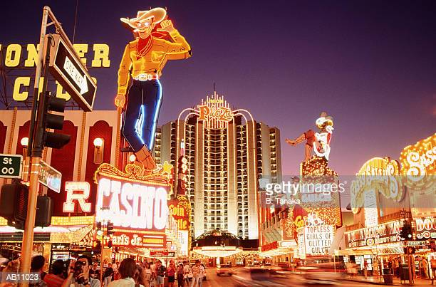 usa, nevada, downtown las vegas, neon signs on fremont street - ラスベガス ストックフォトと画像
