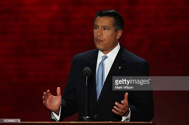 Nevada Gov Brian Sandoval speaks during the Republican National Convention at the Tampa Bay Times Forum on August 28 2012 in Tampa Florida Today is...