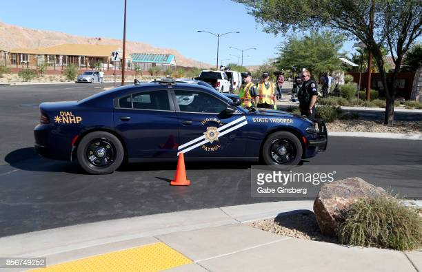 Nevada Highway Patrol officer arrives at the Sun City Mesquite community where suspected Las Vegas gunman Stephen Paddock lived in Mesquite Nevada on...