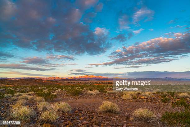 usa, nevada, landscape with desert and moody sky - nevada stock pictures, royalty-free photos & images