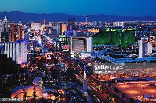 usa, nevada, las vegas, dusk, elevated view - luxor hotel stock pictures, royalty-free photos & images