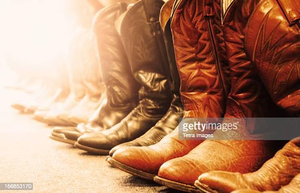 usa, nevada, las vegas, row of cowboy boots - カウボーイブーツ ストックフォトと画像