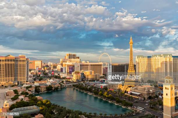USA, Nevada, Las Vegas, Strip, hotels and Eiffel Tower