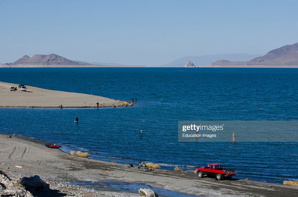 Nevada Nixon Pyramid Lake Paiute Tribe Reservation Fishermen Fishing From S And In