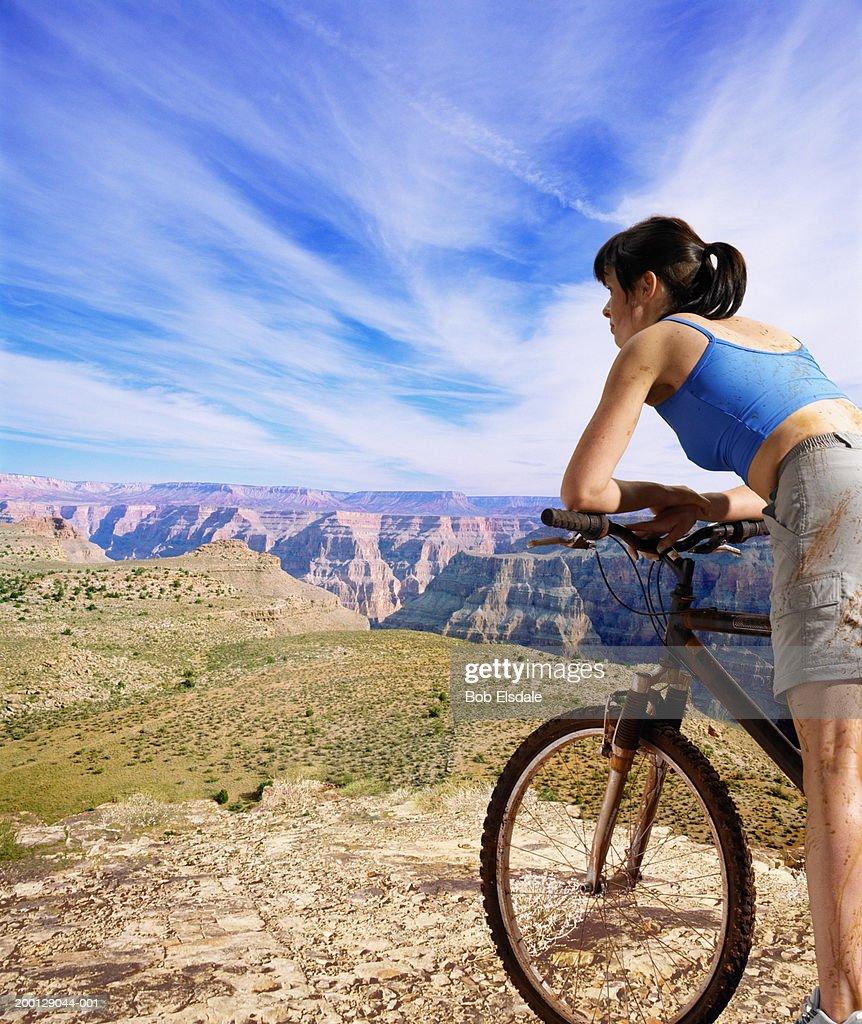 Usa Nevada Red Rock Canyon Woman Leaning On Mountain Bike Handlebar