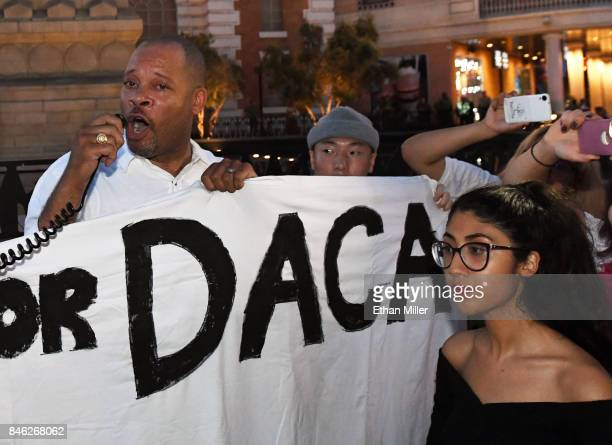 Nevada Senate Majority Leader Aaron D Ford addresses immigrants and supporters gathered outside the New YorkNew York Hotel Casino on the Las Vegas...