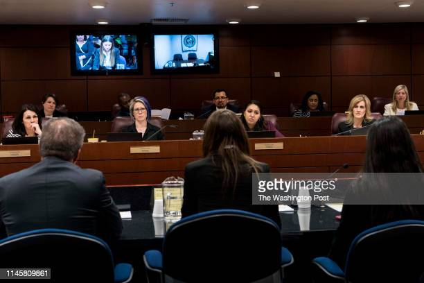 Nevada State Representatives Alexis Hansen Sarah Peters Selena Torres Brittney Miller Melissa Hardy and Lisa Krasner listen to a student testifying...