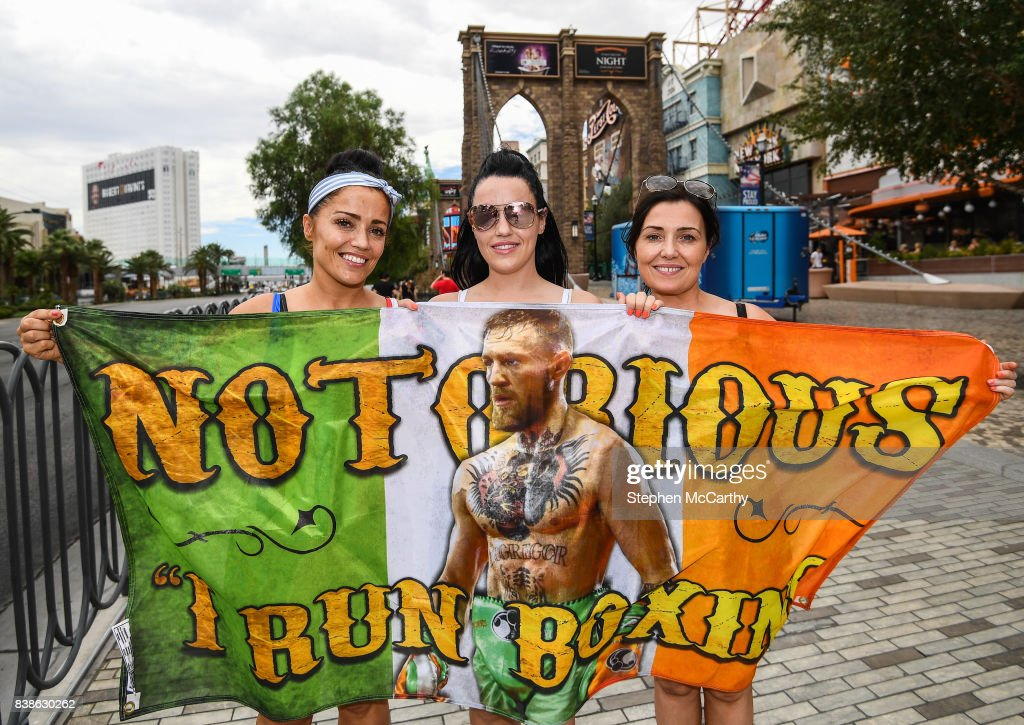 Nevada , United States - 24 August 2017; Conor McGregor supporters, from left, Lynn O'Hara, Stacey Kelly and Nicola Farrelly from Coolock, Dublin, in Las Vegas, prior to the boxing match between Floyd Mayweather Jr and Conor McGregor at T-Mobile Arena in Las Vegas, USA, on Saturday August 26.