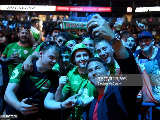 Nevada United States 25 August 2017 Promotor Eddie Hearn with Conor McGregor supporters prior to the weighin for the super welterweight boxing match...