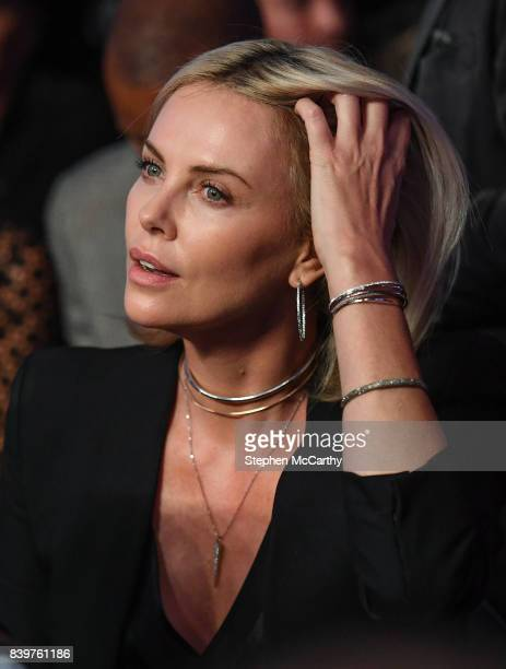Nevada United States 26 August 2017 Actress Charlize Theron in attendance at the super welterweight boxing match between Floyd Mayweather Jr and...