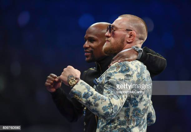 Nevada United States 26 August 2017 Conor McGregor right and Floyd Mayweather Jr during the post fight press conference following their super...