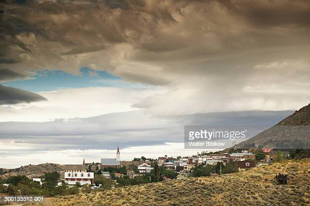 usa, nevada, virginia city, storm rolling into town, elevated view - nevada stock pictures, royalty-free photos & images