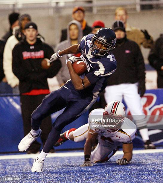Nevada wide receiver Marko Mitchell makes a reception for a touchdown against Maryland during the Roady's Humanitarian Bowl at Bronco Stadium in...