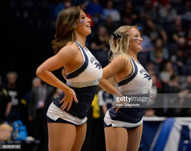 Nevada Wolf Pack cheerleaders perform during a time out during the NCAA Division I Men's Championship First Round game between the Nevada Wolf Pack...