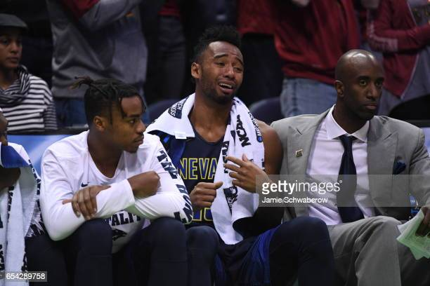 Nevada Wolf Pack guard DJ Fenner cries on the bench near the close of the 2017 NCAA Men's Basketball Tournament held at BMO Harris Bradley Center on...