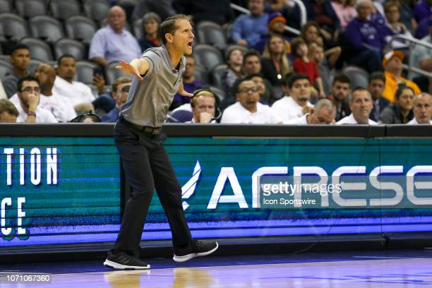 Nevada Wolf Pack head coach Eric Musselman yells at his team during a college basketball game between the Grand Canyon Lopes and the Nevada Wolf Pack...