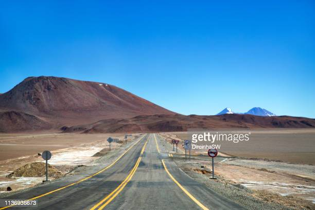 nevado tres cruces national park, chile. - road signal stock pictures, royalty-free photos & images