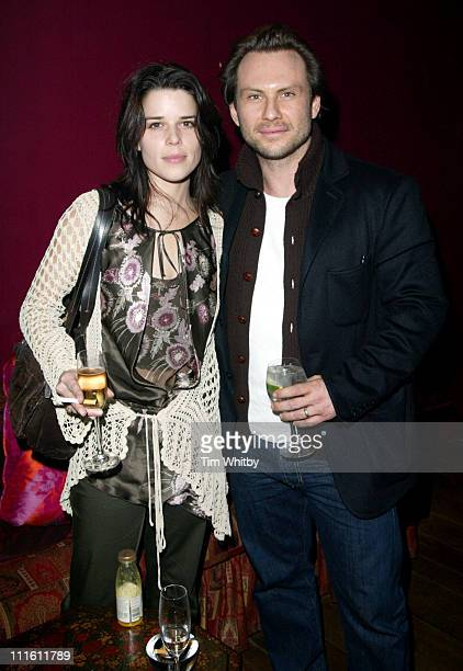 Neve Campbell and Christian Slater during Churchill The Hollywood Years Press Screening Inside Arrivals at Soho Hotel in London England Great Britain