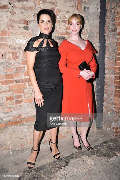 Neve Campbell and Christina Hendricks attend the Christian Siriano Fashion show during new York Fashion Week September 2016 at ArtBeam in New York...