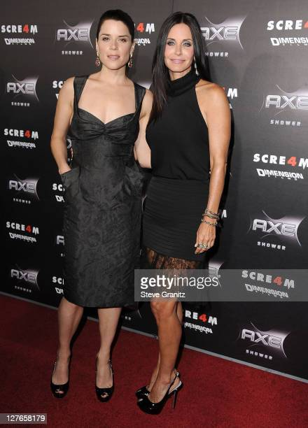 Neve Campbell and Courteney Cox attend the Scre4m Los Angeles Premiere at Grauman's Chinese Theatre on April 11 2011 in Hollywood California