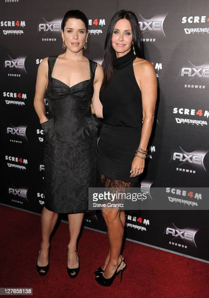 Neve Campbell and Courteney Cox attends the 'Scre4m' Los Angeles Premiere at Grauman's Chinese Theatre on April 11 2011 in Hollywood California
