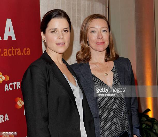 Neve Campbell and Molly Parker attend the 2016 ACTRA National Award of Excellence at The Beverly Hilton Hotel on January 31 2016 in Beverly Hills...