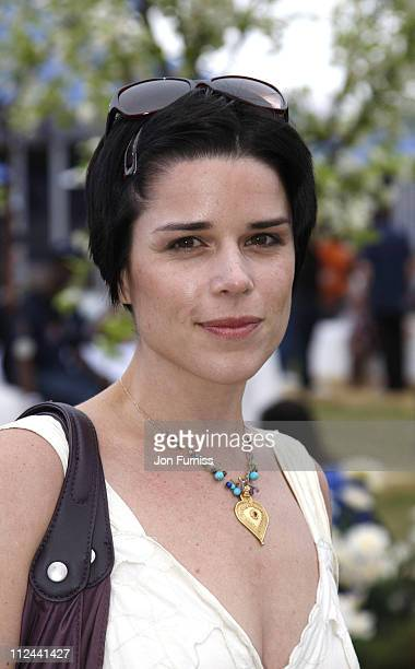 Neve Campbell during O Wireless Festival 2007 Hyde Park Day 4 Backstage at Hyde Park in London Great Britain