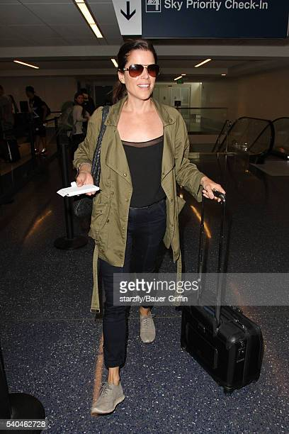 Neve Campbell is seen at LAX on June 15 2016 in Los Angeles California