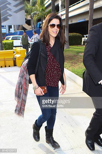 Neve Campbell is seen at LAX on March 07 2016 in Los Angeles California