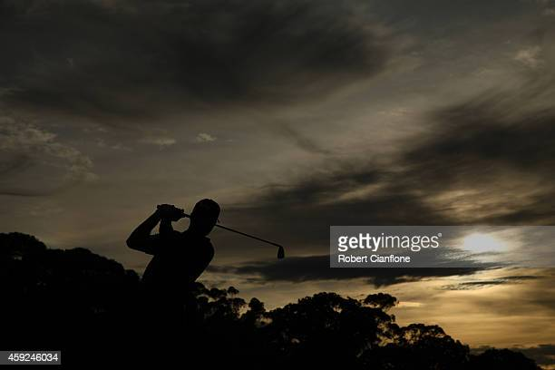 Neven Basic of Australia plays a shot off the fairway during round one of the 2014 Australian Masters at the Metropolitan Golf Club on November 20,...