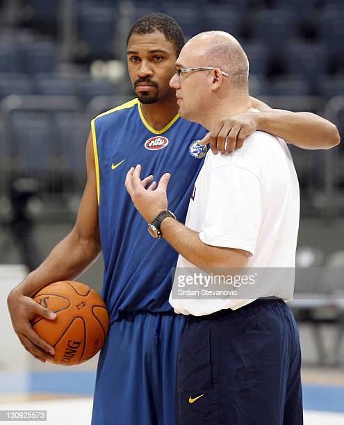 Neven Spahija head coach and Rodney Buford of Maccabi Tel Aviv basketball team talk during the training session at the Koeln Arena in Cologne Germany...