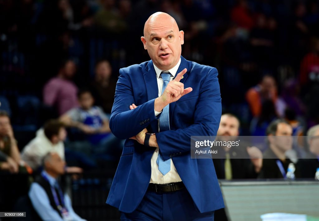 Neven Spahija, Head Coach of Maccabi Fox Tel Aviv in action during the 2017/2018 Turkish Airlines EuroLeague Regular Season Round 25 game between Anadolu Efes Istanbul and Maccabi Fox Tel Aviv at Sinan Erdem Dome on March 8, 2018 in Istanbul, Turkey.
