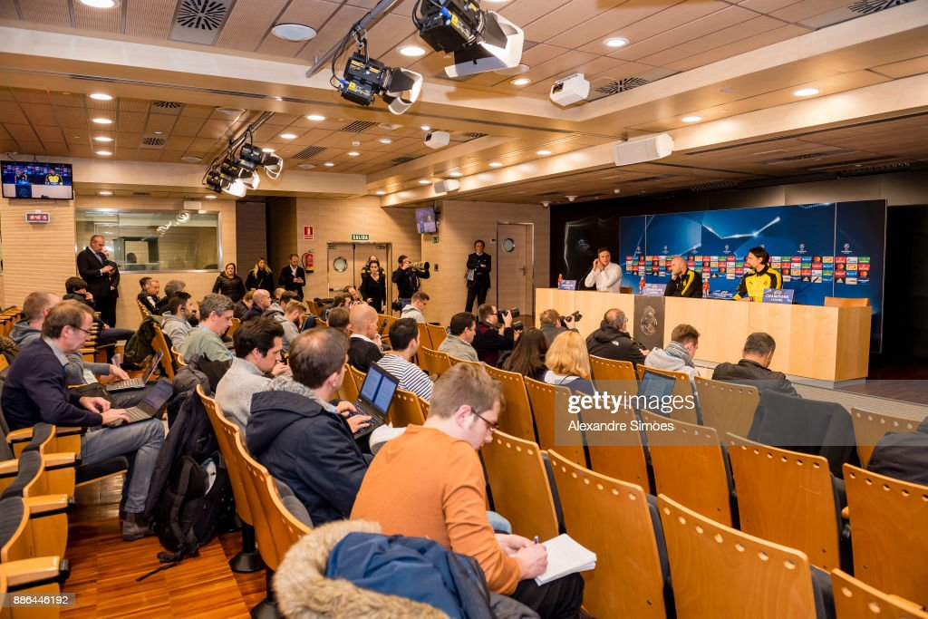 Neven Subotic and head coach Peter Bosz of Borussia Dortmund at the press conference prior to the UEFA Champions League match between Real Madrid and Borussia Dortmund on December 05, 2017 in Madrid, Spain.