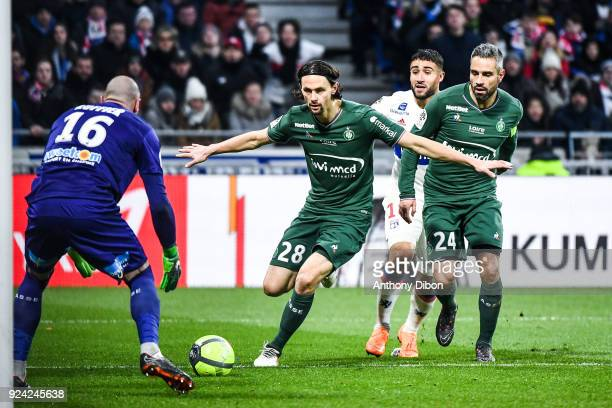 Neven Subotic and Loic Perrin of Saint Etienne protect the ball from Nabil Fekir during the Ligue 1 match between Olympique Lyonnais and AS...