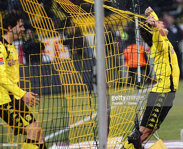 Neven Subotic and Nelson Valdez of Dortmund celebrate their teams third goal during the Bundesliga match between Borussia Dortmund and Hannover 96 at...