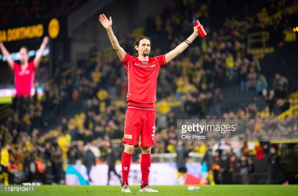 Neven Subotic of 1.FC Union Berlin greets the fans after the game between Borussia Dortmund and the 1 FC Union Berlin on february 1, 2020 in...