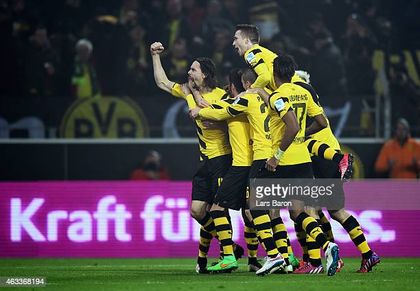 Neven Subotic of Borussia Dortmund celebrates as he heads their first goal during the Bundesliga match between Borussia Dortmund and 1. FSV Mainz 05...