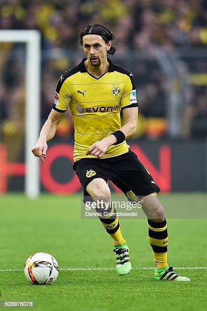 Neven Subotic of Borussia Dortmund controls the ball during the Bundesliga match between Borussia Dortmund and Hannover 96 at Signal Iduna Park on...